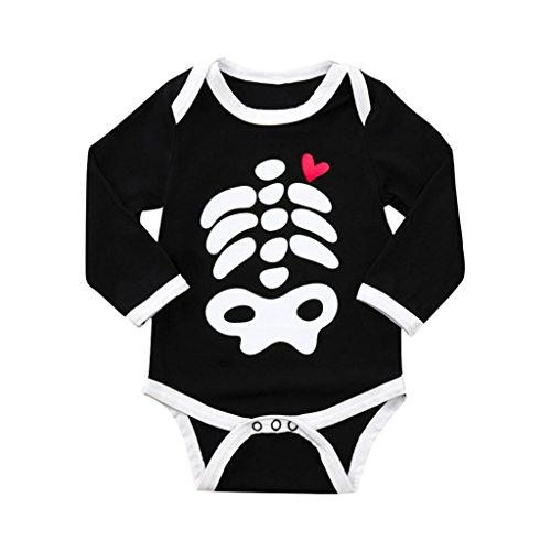 Baby Strampler Set,Transwen Halloween Kleinkind Kind Baby Jungen Knochen Liebe Print Cartoon Spielanzug Overall Kleidung Babymode Langarm Schlafstrampler Strampelanzug (6, Schwarz)