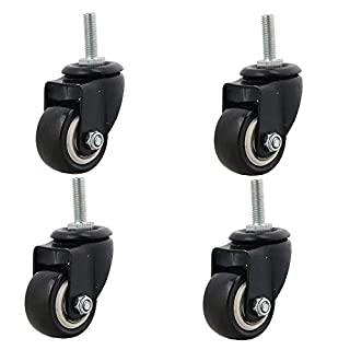 4pcs Heavy Duty 240kg M8x25mm PU Swivel Castor Wheels Trolley Furniture Caster Replacement (Castor Without Brake)