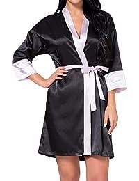 18a24dbb33 Hibote Bride Wedding Short Bathrobes Woman Kimono Satin Lace Bath Robes  Female Sleepwear Bridesmaid Dressing Gown