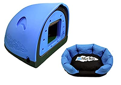 Petzpodz DOG POD with removeable front flap insert MEDIUM designer blue plastic dog crate, cave & den, dog kennel house dog home and igloo for indoor and outdoor use