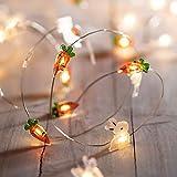 Lights4fun 20er LED Micro Oster Lichterkette warmweiß Timer Batterie