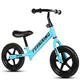 TH -12 Zoll Sport Balance Bike Lernlaufrad Kinderfahrrad Ab 2-6 Jahren Verstellbare Sitzhöhe,12 Zoll Eva-Reifen ~( ̄▽ ̄~),Blue