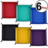 SIQUK 6 Pieces Dice Tray PU Leather Dice Rolling Tray Folding Square Holder for Dice Games like RPG, DND, and Other Table Games, 6 Colors