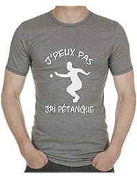 Gazol T-Shirt Humour bouliste. J peux Pas J Ai pétanque. 671b1544ff96