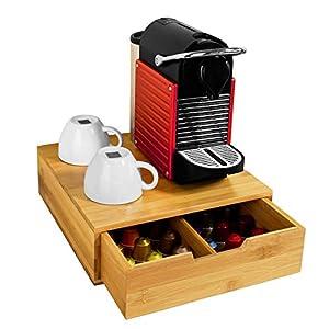 SoBuy FRG Porte-Capsules, Boîte de rangement à tiroirs pour capsules de thé et café en bambou, Boîte à Capsules de Café thé