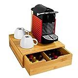 SoBuy FRG70-N Boîte de rangement à tiroirs pour capsules de thé et café en bambou, Boîte à Capsules de Café, Boîte à thé L30xP31xH9,5cm