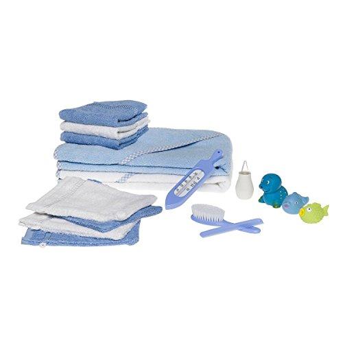 Wörner Badeset (16-TLG.) -Erstausstattung mit verschiedenen Waschlappen, Badetüchern, Badetieren & Badethermometer - Textilien aus Baumwoll-Frottee