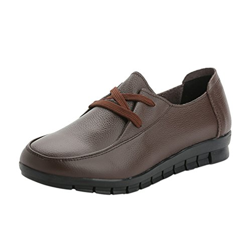 Yiiquan Femmes Chaussures Pu En Cuir Synthétique Slip-on Flat Bow Lace Up Casual Chaussures Plates Chaussures Marron