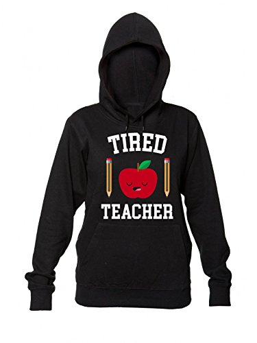 Finest Prints Tired Teacher Sleepy Apple With Pencils Women's Hooded Sweatshirt