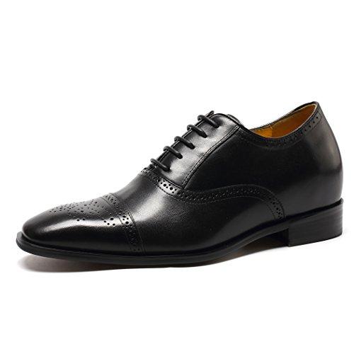 CHAMARIPA Herren Oxford Wingtip Elevator Schuhe aus Kalbsleder Schnürhalbschuhe - 7 cm höher - K6531 (43, schwarz) (Wingtip Schuhe)