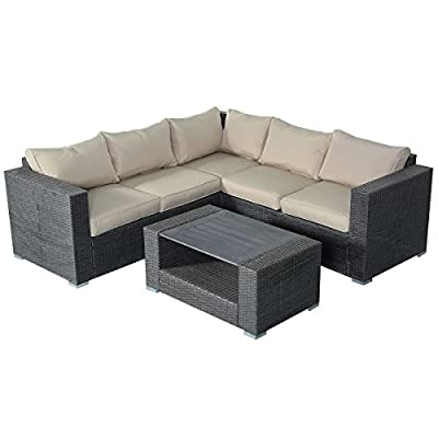 Costway 6PC Rattan Sofa Set Garden Furniture Corner Seats Patio Conservatory Lawn Cushion Seat Gray