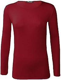 NEUF femmes ras de cou simple uni manches longues T-shirt haut 15 couleurs  grande 347d903bc986