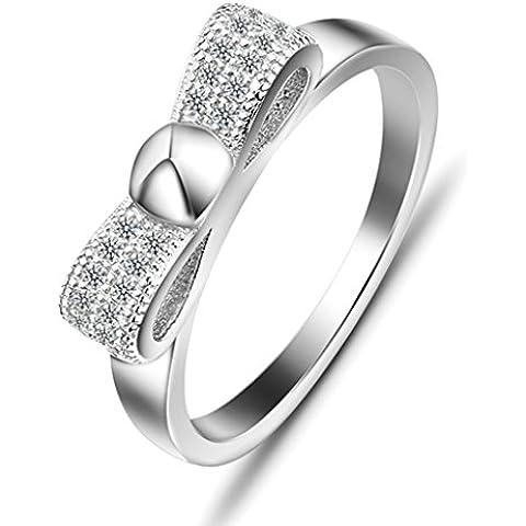 Daesar Joyería Anillo Compromiso de Plata, Circonita Cubic Zirconia Bowknot Infinito Infinity