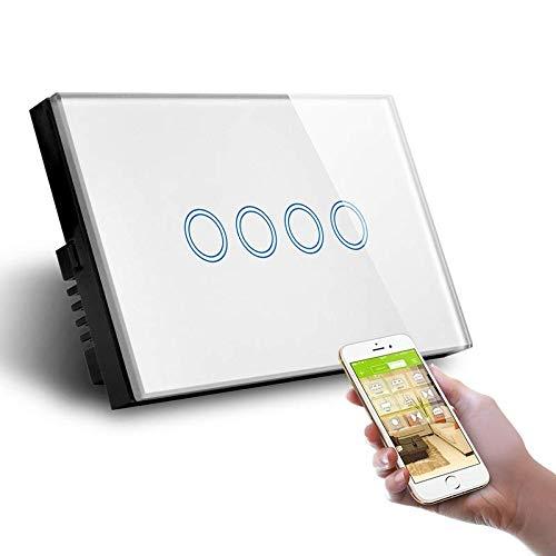 Smart Home-Schalter LKM Security mit 4 Positionen - Schalter mit Touch- und Remoto-Tramite-Wi-Fi LED-Anzeigen für den Domotica Intelligente - Panel aus gehärtetem Kristall Farbe Weiß -