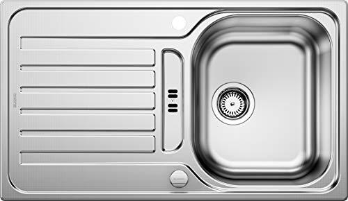 Blanco Lantos 45 S, Einbauspüle, Küchenspüle, reversibel, mit Ablauffernbedienung, Edelstahl Leinen; 514010