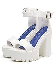 13cm Chunkly Tacones Zapatos casuales Correa de la palabra Sandalias Mujer Sencillo Punta abierta Estación de tobillo Cinturón Buckel 4.5cm Plataforma gruesa Sandalias Shos romanos Zapatos de la Corte , white , 37