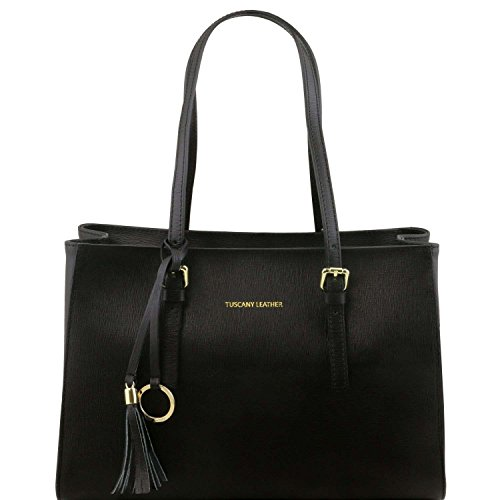 Tuscany Leather - TL Bag -Sac à main en cuir Saffiano - Noir
