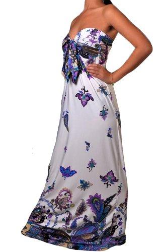 Femmes Angela Bandeau Nœud Buste Robe Maxi, tailles RU 8-22, Multiple Couleurs Lilas Papillon