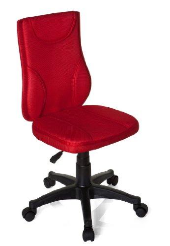 hjh OFFICE 670420 Kinder Schreibtischstuhl KIDDY BASE Netz-Stoff Rot Drehstuhl Ergonomisch Höhenverstellbar