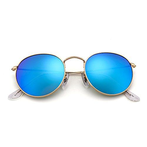 JIM HALO Retro Runden Spiegel Sonnenbrille Vintage Reflektierend Glas Linsen Dame Herre Blau