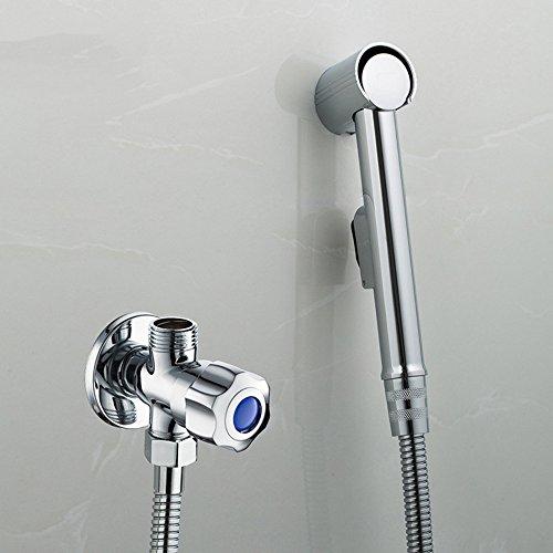 Bidet Brause Set, Hifina Waschbeckenbrause Mit 47 Zoll Schlauchbrause Wandhalterung Und Shut Off Ventil / Durchflussregelungsventil für Dusche (Ausführung 1)