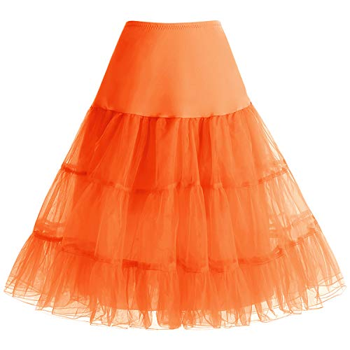 (bbonlinedress Organza 50s Vintage Rockabilly Petticoat Underskirt Orange M)