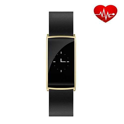 Smartwatch mit Pulssensor und Eindrucken Step Track & Sleep Monitor Aktivitäts-Tracker Wasserdichte Touchscreen-Schrittzähler-Kalorienzähler Fitness-Armband für iPhone & Android Handys JUN108(Gold)