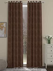 """Buy JELIPOFASHION Brown Set of 2 Long Door Curtains- 42"""" x 84"""", Maroon Black  3 Piece Online at Low Prices in India - Amazon.in"""