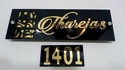 Karigaari India Home Door Name Plate - Acrylic, Laser cut - Personalised / Custom made with Flat Number Board