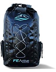 FE Active - Sac à Dos étanche imperméable Waterproof et écologique 30L pour Toutes activités Outdoor et Aquatiques. Bretelles réglables rembourrées, Cordon élastique extérieur, Poches en Filet Mesh
