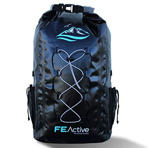 dry bag rucksack FE Active – 30L Wasserdichte Dry Bag Rucksack geeignet für alle Outdoor Aktivitäten und sonstige Unternehmungen am Wasser. Gepolsterte Schultergurte, Außennetze Sorgen für eine größere Tragfähigkeit