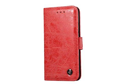 iPhone 8 Hülle, iPhone 7 Hülle, Eouine Leder Hülle Brieftasche, Retro Flip Wallet Case Handy Schutzhülle Kunstleder mit Stand und Magnetverschluss Handy Schutzhülle für Apple iPhone 8 / iPhone 7 4.7-i Rot