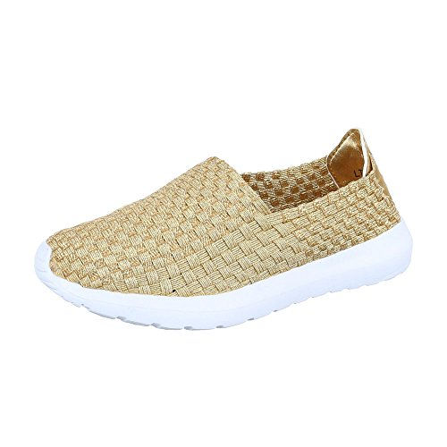Ital-Design Slipper Damen-Schuhe Low-Top Moderne Halbschuhe Gold, Gr 36, Lt-48-