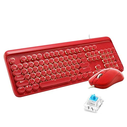 YEMOPDB Gaming Keyboard Mouse - Mechanisch Verkabeltes USB - Tastatur- Und Mausset - Hintergrundbeleuchtung - PC/Laptop/MAC (Color : Red) (Wars Mac Guild)