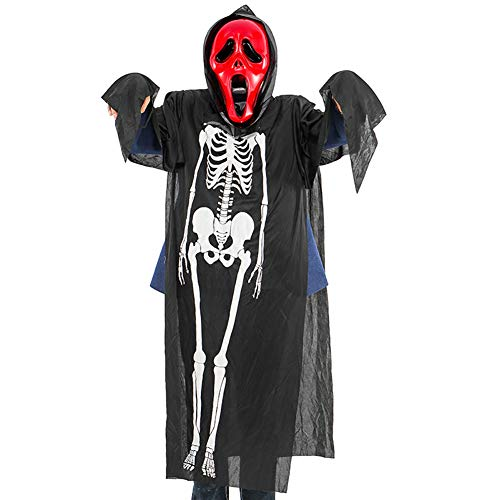 DUDUZUI Halloween Premium-Qualität Schwarz Skelett Schädel Kostüme Und Scary Screaming Scream Mask Ghost Cosplay Kleider in Ghost Maskerade Kleid - Scary Skelett Kostüm
