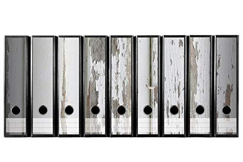 Set 9 Stück breite Ordner-Etiketten selbstklebend Ordnerrücken Sticker Aufkleber alte Holzplanken mit abblättender Farbe weiss Holzoptik Holz vintage weiss