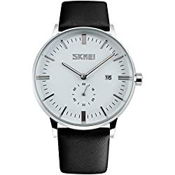 CIVO Mens Simple Design Black Leather Band Wrist Watch Men's Classic Fashion Dress Analogue Quartz Wrist Watches 30m Waterproof Luxury Business Casual Wristwatch White Sub Dial and Date Calendar