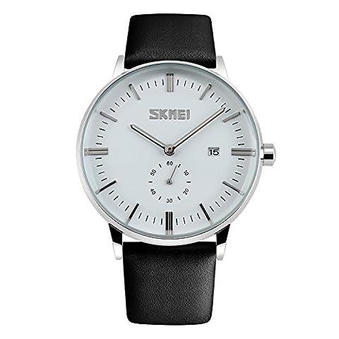 CIVO Herren Uhren Wasserdichte Schwarz Lederband Uhr Männer Luxus Classic Kalender Datum Analog Quarzuhr Business Mode Kleid Armbanduhr Weiß Zifferblatt