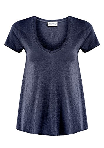 American Vintage - JAC51 col en V - Femme Marine Taille Small 52 % coton et 48 % viscose.