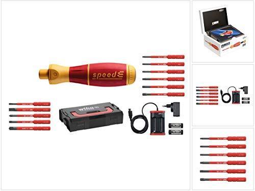 Preisvergleich Produktbild Wiha speedE® elektronischer Schraubendreher - Set 1 in L-Box mit 2x 1, 5 Ah Akku und Ladegerät + Bits (41911) + Bit Set slimBit electric Torx Satz 6 - teilig