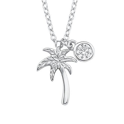 s.Oliver Kinder-Kette mit Anhänger 38+2 cm Palme Mädchen 925 Silber rhodiniert Zirkonia weiß 40 cm 2015023