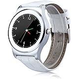 NeeCoo V3 - Smartwatch Pulsera Inteligente para Móvil Android y IOS (Bluetooth 4.0, Ritmo Cardíaco, Recordatorio de Llamada / SMS, Recordatorio Sedentaria, Captura Remota, Encontrar Teléfono, Reconocimiento de Voz) (Plateado)
