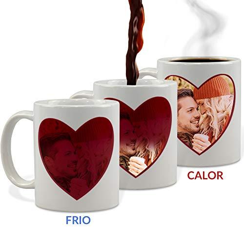 Taza Mágica Enamorados Personalizada con tu Foto/Diseño/Texto/Nombre | Regalo Enamorados | Cerámica | Varios Diseños a Elegir | Corazón Rojo