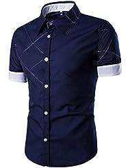 Tefamore Camisa de manga corta para hombre De Moda Ropa Ajustado formal Casual De Fiesta