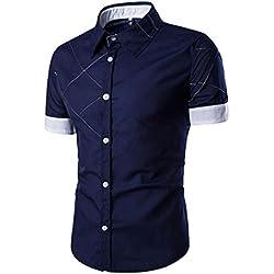 Tefamore Camisa de manga corta para hombre De Moda Ropa Ajustado formal Casual De Fiesta (Tamaño:XXXL, azul)
