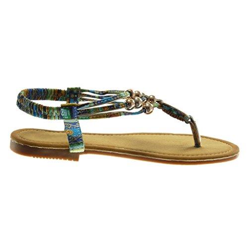 Angkorly Chaussure Mode Sandale Tong Slip-On Salomés Lanière Cheville Femme Perle Fantaisie Doré Talon Bloc 1.5 cm Bleu
