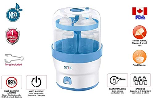 SToK (BPA Free) ST-ES01- for 6 Bottles- 3 in 1 Electric Steam Sterilizer for Baby Feeding Bottles Other Feeding Accessories & Baby Food Steamer
