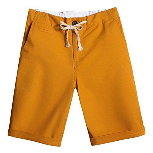 CHENGYANG Herren Große Größe Boardshorts Kordelzug Sommer Shorts mit Taschen JGelb