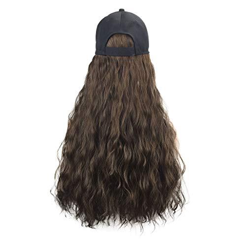 Männliche Service Kostüm Uns - GNYD Damen Lange lockige Perücke Kappe lange Haare Baseballmütze Ball Caps lässig Hut mit Perücke