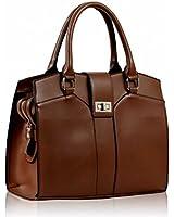 Braune Damen Shopper Handtasche Top griffen weichem Leder Stil